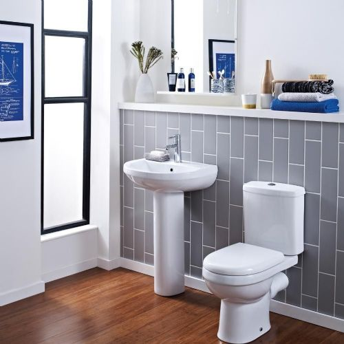 Ivo 4 Piece Toilet & Basin Bathroom Suite - 2 Tap Hole